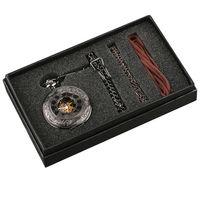 Wholesale pocket mens watches - Steampunk Hand Winding Mechanical Black Pocket Watch Fob Pendant Mens Womens Box Bag