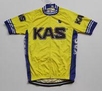 camisa de ciclismo amarillo al por mayor-2018 KAS PRO TEAM SÓLO AMARILLO MANGA CORTA ROPA CICLISMO CAMISETA CICLISMO CICLISMO BICICLETA TALLA: XS-4XL