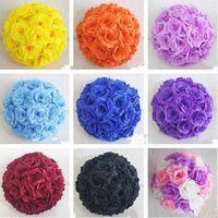 dia cm toptan satış-Lüks Beyaz Yapay Gül İpek Çiçek Topu Asılı Öpüşme Topları 30 cm Düğün Parti Dekorasyon Malzemeleri Için 12 Inç Dia Topu
