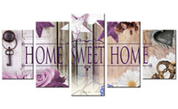Wholesale wall art wood panels - 5 Pieces Canvas Painting Purple Rose Flowe Wall Art Painting Purple Star Wood Door Backgrou Wall Art For Home Decor with Wooden Framed Gifts
