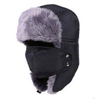 Wholesale earflap beanie women - 2018 New Men Women Winter Warm Hats Russian Trapper Trooper Earflap Outdoor Sport Snow Ski Hat Cap Faux Fur Mens Hat