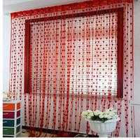 habitaciones forradas al por mayor-Unique Shower Curtain Cute Heart Line Borla Cortina de la puerta Ventana Cortina de la habitación Valance JUL18