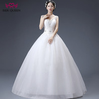 Wholesale Drop Waist Wedding Dress Tulle - ISER QUEEN Sequin Beading Sheer V neck A line Bright Tulle Wedding Dress 2018 Slim Waist Enbroidery Princess Wedding Bridal Gowns WX0078
