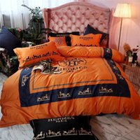 Wholesale bright bedding resale online - Bright Orange H Letter Embroidery Bedding Bag Luxury Design Boutique Horse Pattern Bedding Suit All Cotton Top Level Bedding Cover