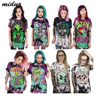 ingrosso grande stampa 3d-2018 Rainbow Unicorn Alien Stampa 3D Divertente T-Shirt Sciolto Ragazza / Ragazzo T Shirt O Collo Moda Tee Shirt Grande Formato 2018 Vendita Calda
