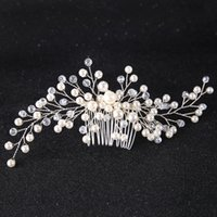 legierungsbestand großhandel-Braut Haar Kämme Legierung Handgemachte Kristalle Perlen Hochzeiten Haar Kämme Günstige Brautschmuck Haar Tiaras Braut Haarteile auf Lager