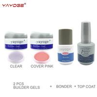 Wholesale led gel primer - builder gel for nail extensions kit led uv gel varnish set lacquer YAYOGE 2 color manicure hard gel top and base coat primer