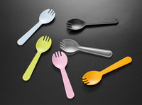 Wholesale baby shower tea party resale online - Disposable Plastic Ice Cream Spoon Tea Spoon Mini Size Flatware Cutlery Baby Shower Party Supplies Xmas SN441