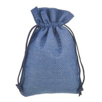 pequenos sacos de nylon venda por atacado-9.5x13.5 cm 50 pcs Azul Escuro Pequeno Juta Com Cordão Presente pacote de jóias saco Serapilheira Natural Elegante com Cordão de Nylon Reutilizável