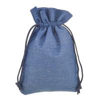 ingrosso borse a tracolla in nylon-9.5x13.5cm 50 pezzi sacchetto del pacchetto dei monili del regalo del cordone di iuta blu scuro piccolo elegante tela naturale con coulisse in nylon riutilizzabile