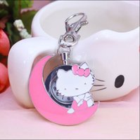 Wholesale convex lens glasses - New fashion hello kitty pocket watch necklace woman fob watches hellokitty black round convex lens glass picture cute lady