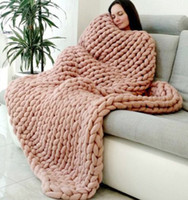 Wholesale Cribs Sales - QNBHR F11 Super thick 2017 Hot Sale Fashion Soft Autumn and Winter Warm Hand Chunky Knitted Sofa Blanket Sofa Bed Blanket