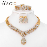 ingrosso set di gioielli africani-AYAYOO Bridal Women African Beads Jewelry Set Ciondolo cuore Party Fashion Jewellery Sets Imitazione Crystal Costume Jewellery
