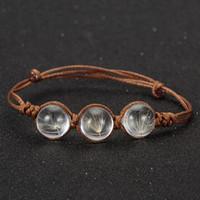 brazaletes de cristal de la vendimia al por mayor-Boho de verano diy perlas de diente de león pulseras brazaletes de la vendimia de la bola de cristal bolas pulseras para las mujeres joyería de moda