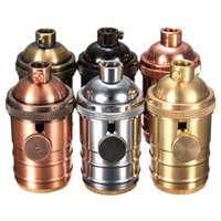промышленная латунь оптовых-E26/E27 Vintage Edison Lamp Holder Solid Brass Lamp Socket 6 Finishes Industrial Pendants Bulb 2 Way Knob Bases