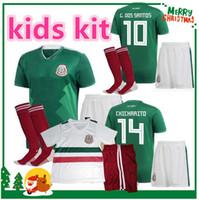 Wholesale Youth Soccer Uniform Jerseys - 2018 MEXICO KIDS kit SOCCER JERSEYS world cup CHICHARITO CHUCKY LOZANO Mexico BOY YOUTH CHILD football uniform camisetas de futbol shirt