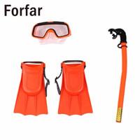 nadadeiras de mergulho venda por atacado-Forfar Snorkeling Set Máscara Kinder Schnorchel Óculos Flippers Scuba Brille Flossen Scuba oberflache Kieselgel