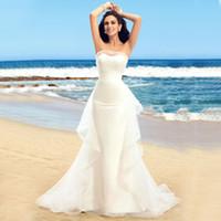 Wholesale Strapless Strapon - new designer kurti strapless thermal imager strapon vestido de noiva Ruffles Dress Mermaid Beach cheap Wedding Dresses long 2018