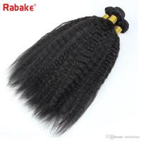ingrosso capelli ondulati vergini veloci di trasporto-Fasci di capelli umani naturali neri crespi diritti Bulk Rabake grado 8a estensioni dei capelli umani vergini malesi tessuto ondulato pacchetto trasporto veloce