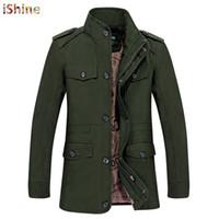 mens ordu yeşil parka toptan satış-İşine Yeni Kış Rüzgarlık Ceket Ordu Yeşil Giyim Palto Pamuk Sıcak Faux Kürk Parka Mens Uzun Trençkot Pluse Boyutu