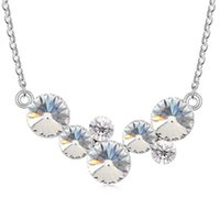 Wholesale swarovski best - Crystal from Swarovski Elements Round Circles Pendant Necklace Best Gift For Friend Women Jewelry White Gold Plated 9704