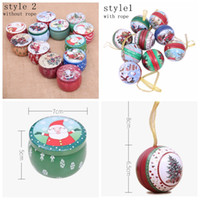 Wholesale christmas gifts case resale online - Christmas candy box wedding Decoration iron candy box Santa snowman ball candy case round tinplate gift box Party Favor GGA849