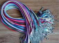 lanyard halskette schmuck großhandel-100 stücke Bunte Wachs Leder Halskette schnalle garnele Anhänger Schmuck Lederband lanyard mit Kette DIY Freies verschiffen