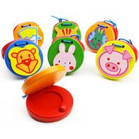 перкуссионные инструменты для младенцев оптовых-Новорожденный красочный мультфильм деревянные звуковые платы ударные инструменты животные деревянные развивающие игрушки кастаньеты музыка восприятие игрушки