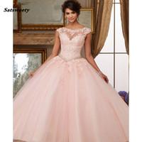 quinceanera wulst großhandel-Organza Spitze Perlen Applikationen Ballkleid Coral Cinderella Quinceanera Kleider 2019 Sweet 15 Kleider Vestidos De Quinceanera