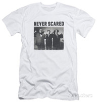 Wholesale hot topping apparel online – design The Three Stooges Never Scared Apparel T Shirt White discout hot new Shirt fashion top officia