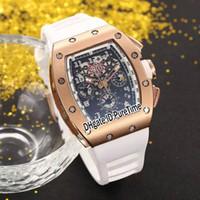 ingrosso orologi di scheletro di grandi dimensioni-Nuovo RM011 RM11 Flyback Chrono oro rosa quadrante nero con scheletro grande data automatico orologio da uomo cinturino in gomma bianca orologi sportivi 8 colori 11b2