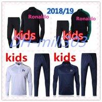 Wholesale Boys Blue Suits - 2018 2019 World Cup PORTUGAL RONALDO kids training suit 18 19 FR veste survêtements POGBA GRIEZMANN youngster chandail de football tracksuit