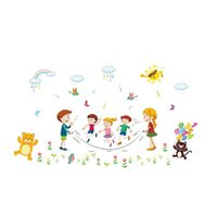 salon mührü toptan satış-Çıkarılabilir Karikatür Hayvan Mutlu Jump Halat Duvar Sticker Yatak Odası Salonu Anaokulu Sınıf PVC Duvar Sticker