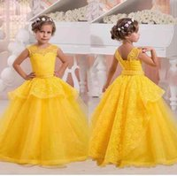 Wholesale Kids Corsets Dresses - Stunning Yellow Lace Cheap Flower Girl Dress 2018 Sheer Neck Ball Gown Beaded Ribbon Backless With Corset Kids Girls First Communion Dresses