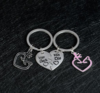 Wholesale Broken Rings - Fashion Her Buck His Doe Keychain Broken Heart Splicing Keyring Elk Antlers Deer Couple Key Chain Holder Ring 2pcs in 1 set