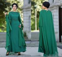 longo verde prom vestidos venda por atacado-Verde escuro elegante muçulmana Evening Dresse Sash frisado A Linha Chiffon Long Prom Vestidos Custom Made