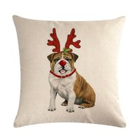 ingrosso cuscino rosso cane-Merry Christmas Cushion Cover Linen Cushion Case Dog Dressing-up Wearing Festival Sciarpa Red Scarf Beige Background Vetrina Decorazione Home