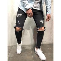 mens yeni moda kot siyah toptan satış-Yeni moda Erkek Düz Slim Fit Biker Jeans Pantolon Sıkıntılı Skinny Ripped Tahrip Denim Jeans Yıkanmış Hiphop Pantolon Siyah ücretsiz shippi