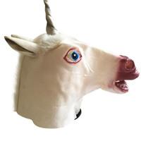 máscara assustador da cabeça do unicórnio venda por atacado-Creepy Unicorn Head Máscara De Látex Halloween Traje Do Teatro Prank Prop Máscaras Loucas