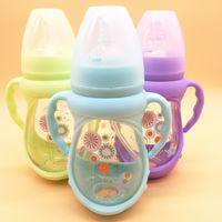 essen monat großhandel-Baby-Säuglingsflasche Säuglings-Milchflasche, die Säuglingsflasche Baby-Wasser-Schalen-Kindersilikon pflegt