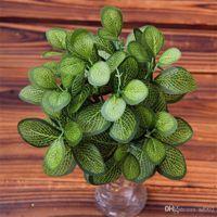 ingrosso bonsai succulenti-Creativo Piante artificiali per ufficio Decorazione della casa Simulazione Foglia verde Vaso di plastica Bonsai Pianta falso tropicale succulenta 2 4ct ii