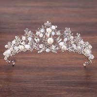 Wholesale beaded hair tiaras resale online - Handmade Bridal Crown Wedding Tiara Crystal Beaded Headband Flower Head Piece Bride Vintage Bridal Headpieces hair jewelry S918