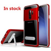 Wholesale Iphone Silver Bumper - Hybrid Armor Clear Case For samsung galaxy S9 PLUS S9+ S8 PLUS For iphone X 8 PLUS Stand Holder Bumper Transparent Cover C