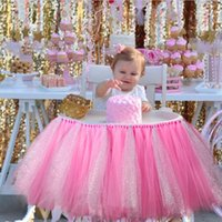ingrosso baby shower multicolore-Tutù Gonna per sedia Baby Shower Compleanno Decorazione per festa di nozze Copertura per sedia Grenadine Multicolor Jinlun Home Decorate 28mr Y