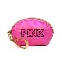 Wholesale leather bags hot pink online - 2018 hot PINK Laser Cosmetic Bag Waterproof Makeup Bags Women Laser Flash Diamond Leather Bags Kids Purse