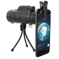 trípode cazado al por mayor-40X60 BAK4 Telescopio Monocular HD Mini Monocular Caza al aire libre Camping Scopes Con Brújula Teléfono Clip Trípode BH274