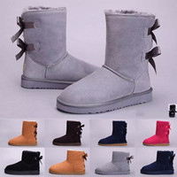 kızlar kırmızı deri ayakkabılar toptan satış-UGG Sıcak Satış Yeni WGG kadın Avustralya Klasik uzun Çizmeler Kadın kız çizmeler Boot Kar Kış çizmeler fuşya siyah mavi kırmızı deri ayakkabı