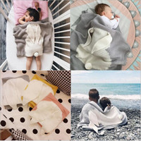 Wholesale Quilt Crochet - Bunny Baby Blankets Ins Rabbit Ear Blankets Hand Crochet Knit Swaddling Infant Cartoon Knitted Bath Towels Kids Air Condition Quilts B3785