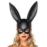 Wholesale carnival rabbit costumes - Party Masquerade Rabbit Masks Sexy Bunny Long Ears Carnival Halloween Party Costume Mask 2017 Black White Halloween