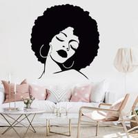 calcomanías de peluquería al por mayor-Chica de moda de vinilo decorativo Wall Art Sticker Lady Sexy Hair Spa extraíble calcomanía a prueba de agua para Salon Decal Hair Salon Mural